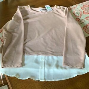 Calvin Klein NWT, layered look blouse, Large